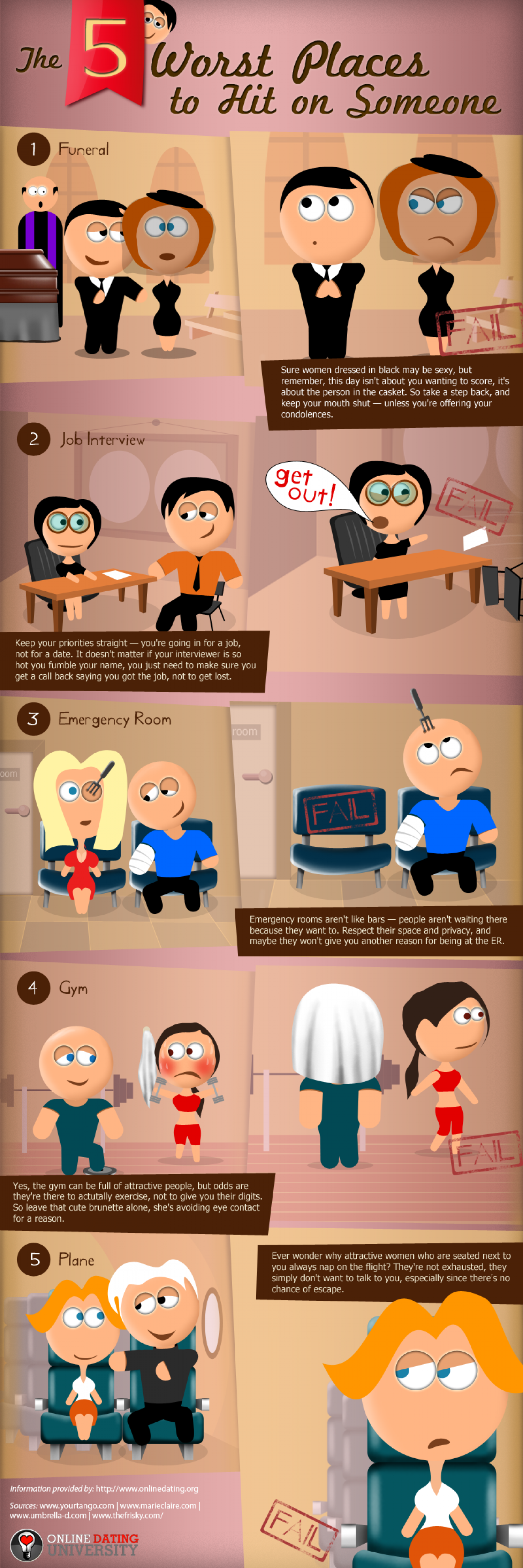 The 5 Worst Places to Hit On Someone Infographic