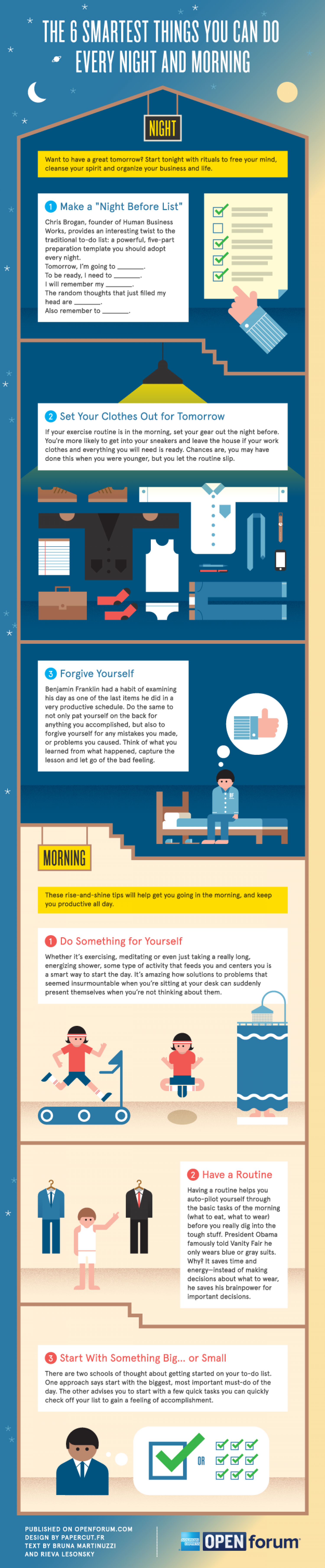 The 6 Smartest Things You Can Do Every Night and Morning Infographic