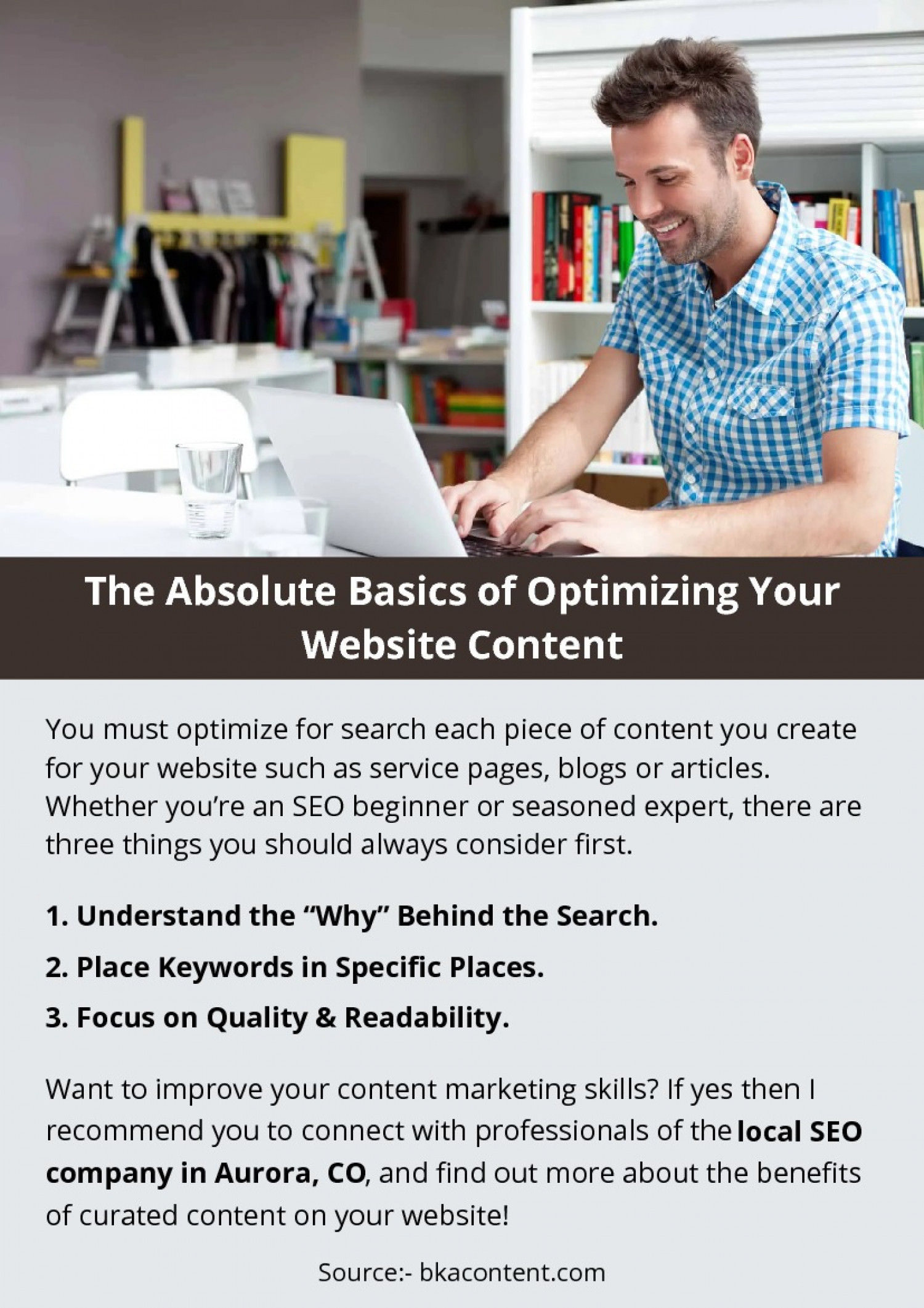 The Absolute Basics of Optimizing Your Website Content Infographic