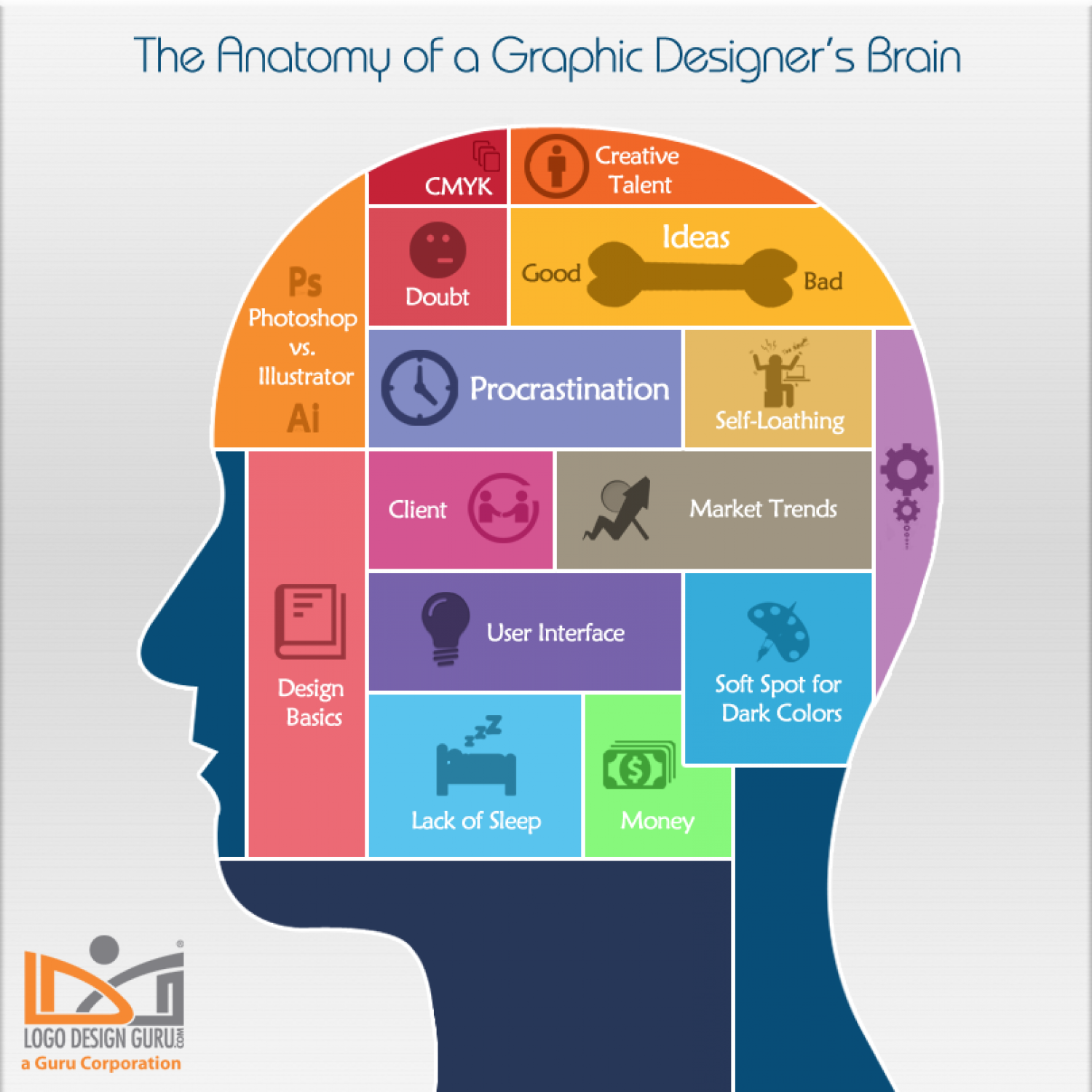 The Anatomy of a Graphic Designer's Brain Infographic
