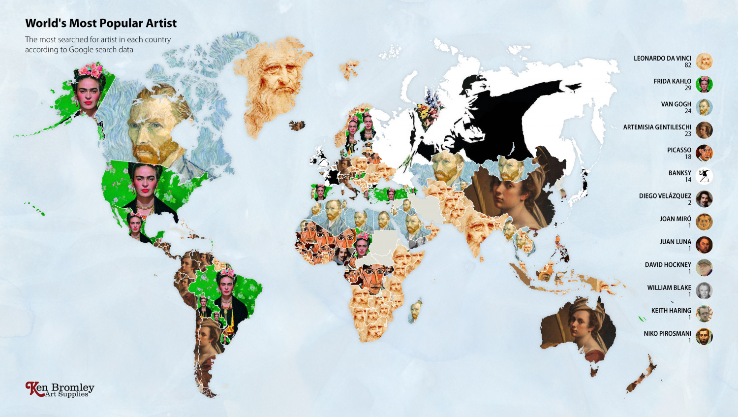 The artist most Googled in every country in the world Infographic