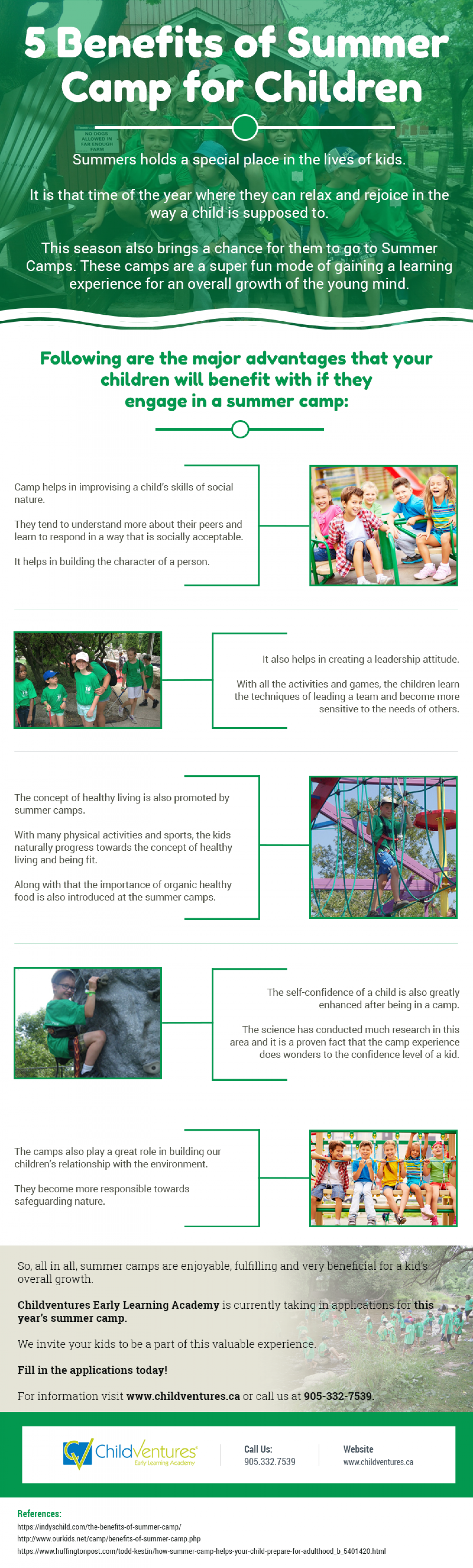 The Benefits of Summer Camp for Children Infographic