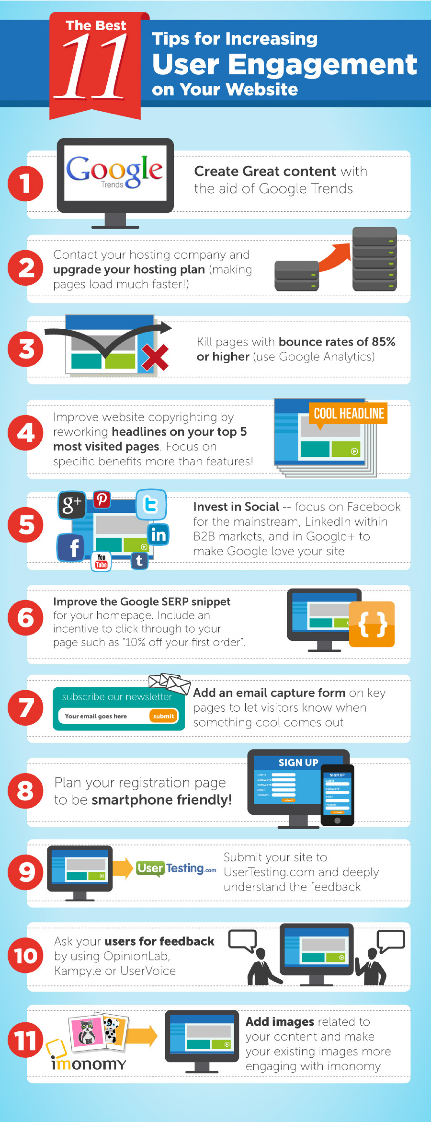 The Best 11 Tips for Increasing User Engagement on Your Website Infographic
