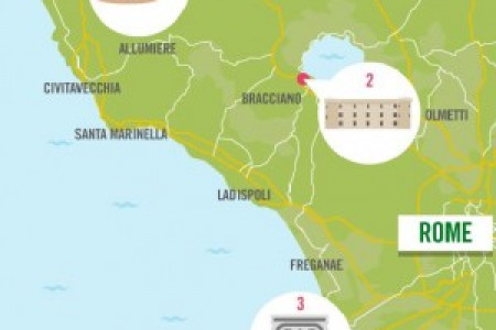 The best of Italy - historic sites within two hours of Rome  Infographic