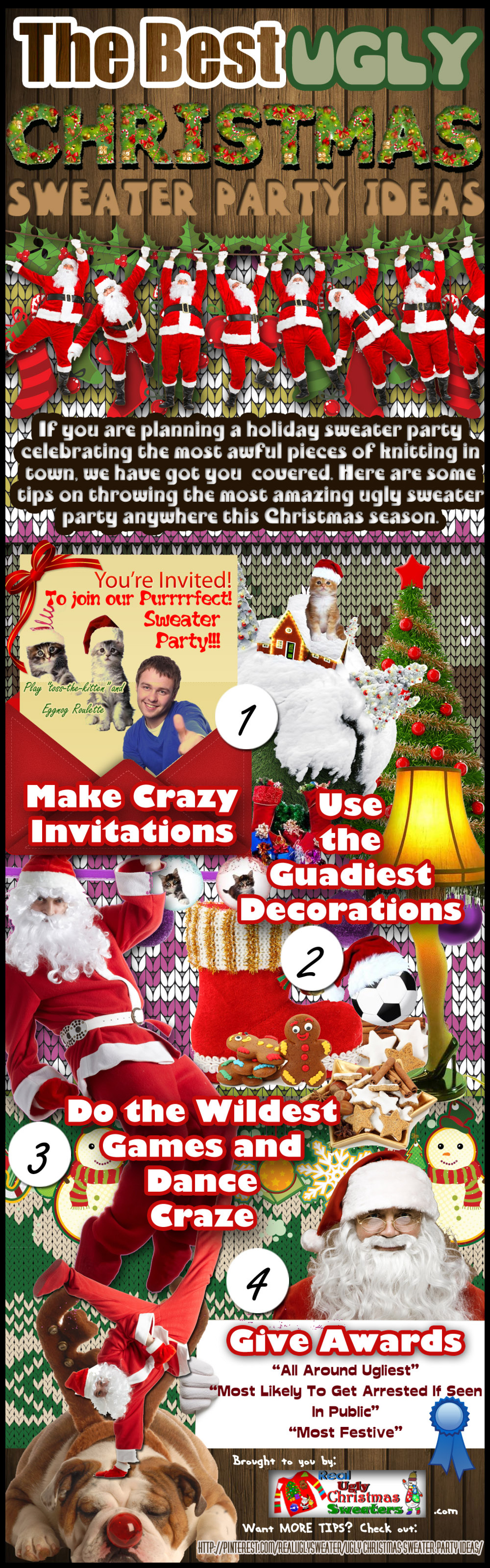 The Best Ugly Christmas Sweater Party Ideas Infographic
