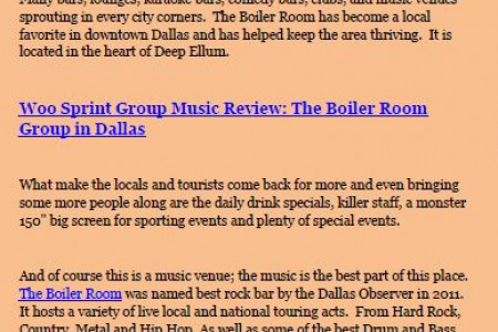 The Boiler Room Group in Dallas: A Music Review at Woo Sprint Group Infographic