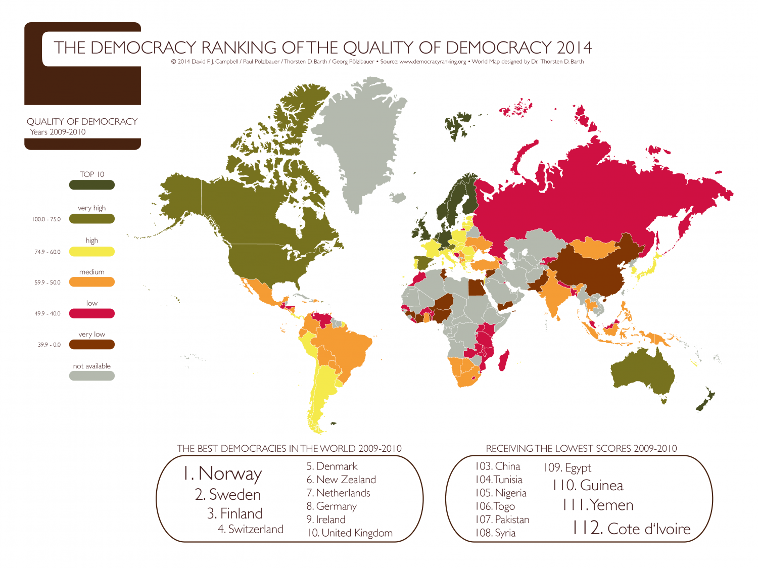 The Democracy Ranking of the Quality of Democracy 2014 (Covered Years 2009-2010)  Infographic