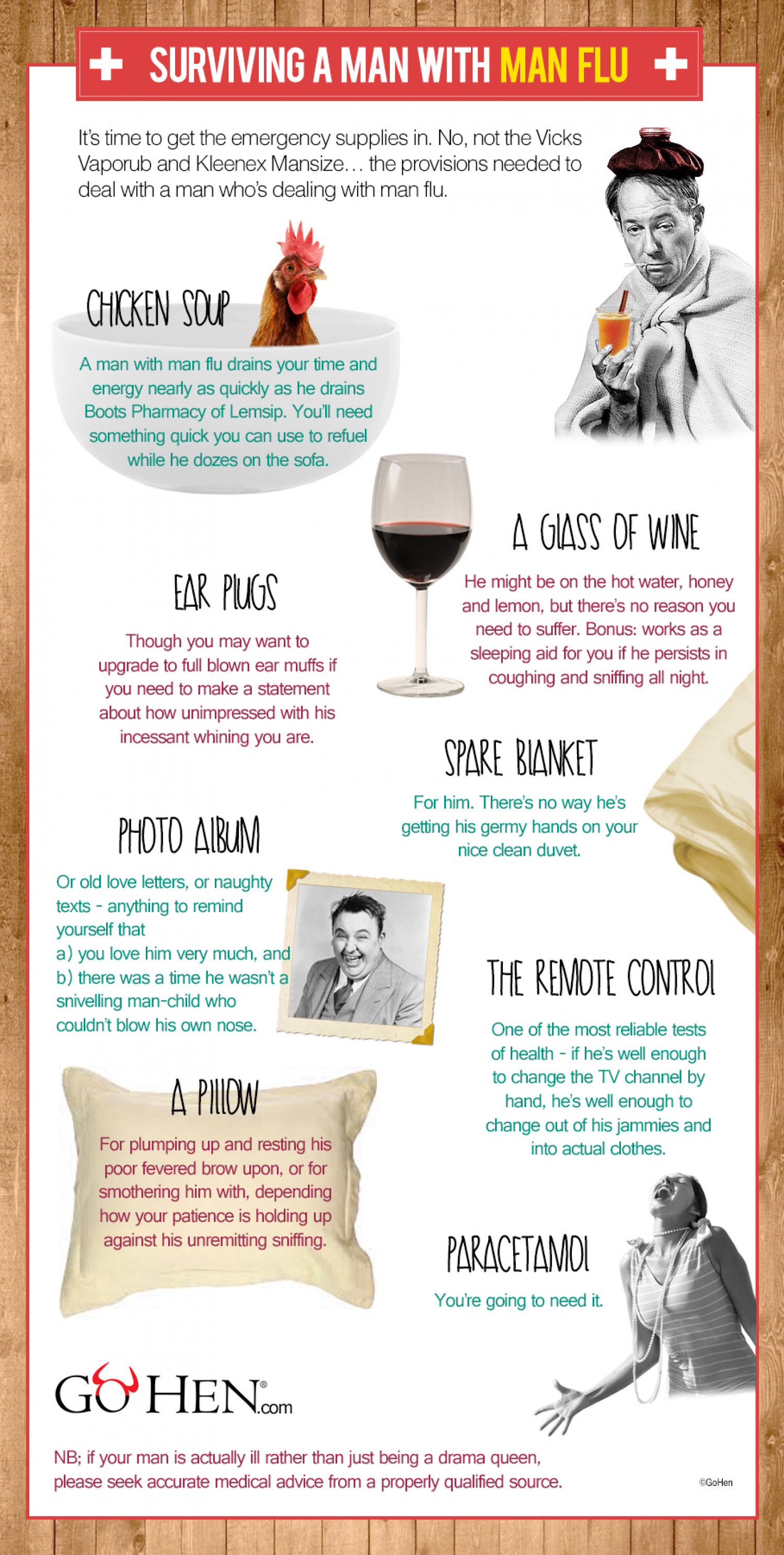 The Girls' Guide to Surviving Man Flu Infographic