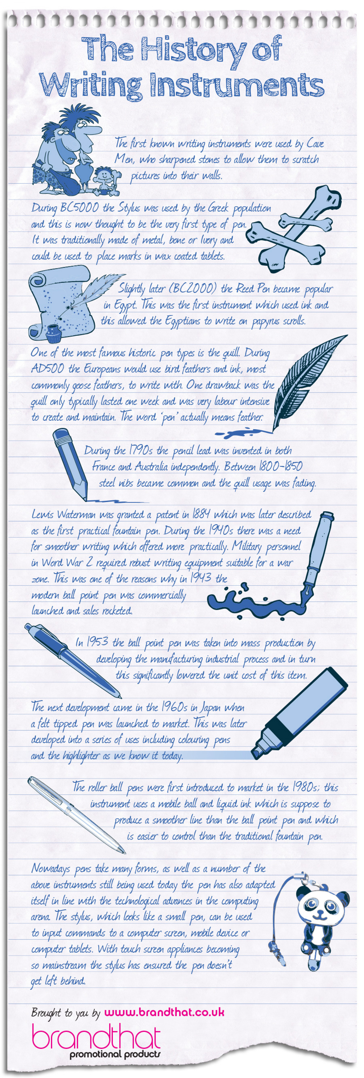 The History of Writing Instruments Infographic
