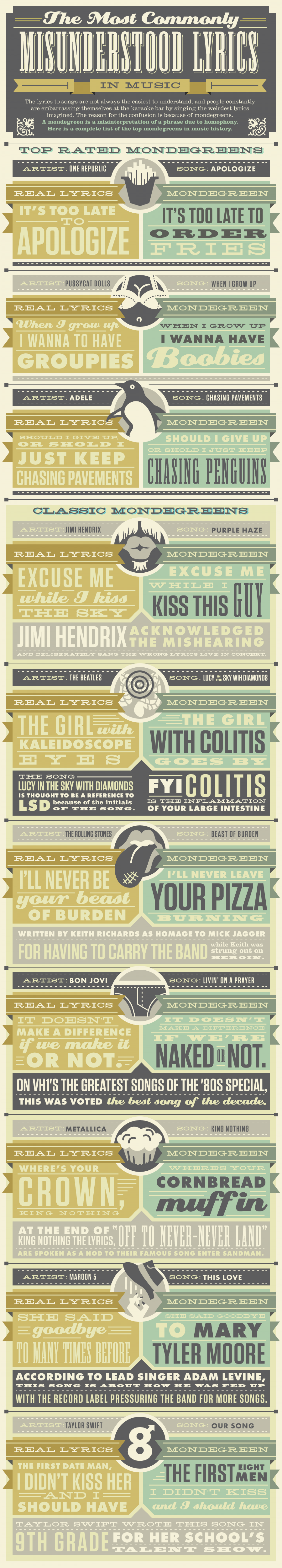 The Most Commonly Misunderstood Lyrics in Music Infographic