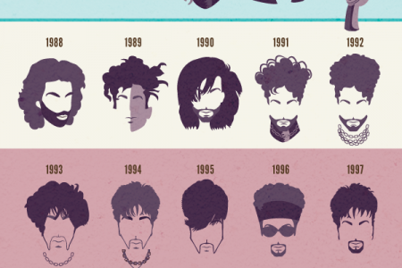The Most Revolutionary Hairstyles of Prince! Infographic