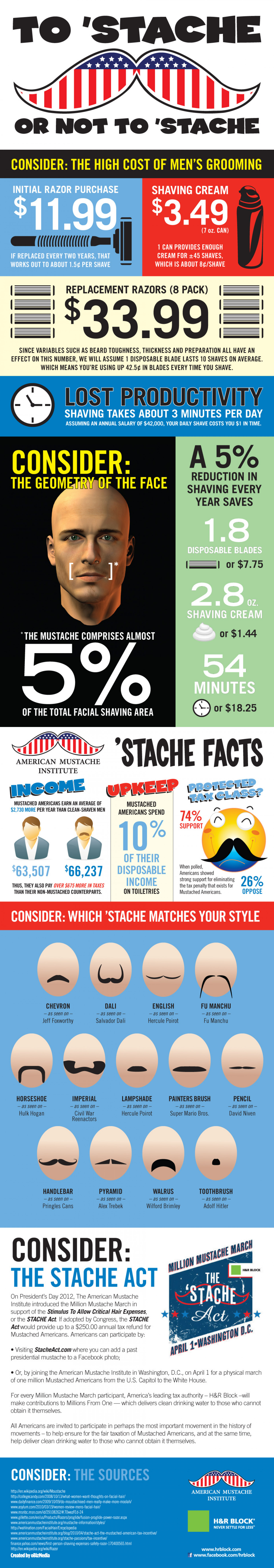 The Mustached American Plight  Infographic
