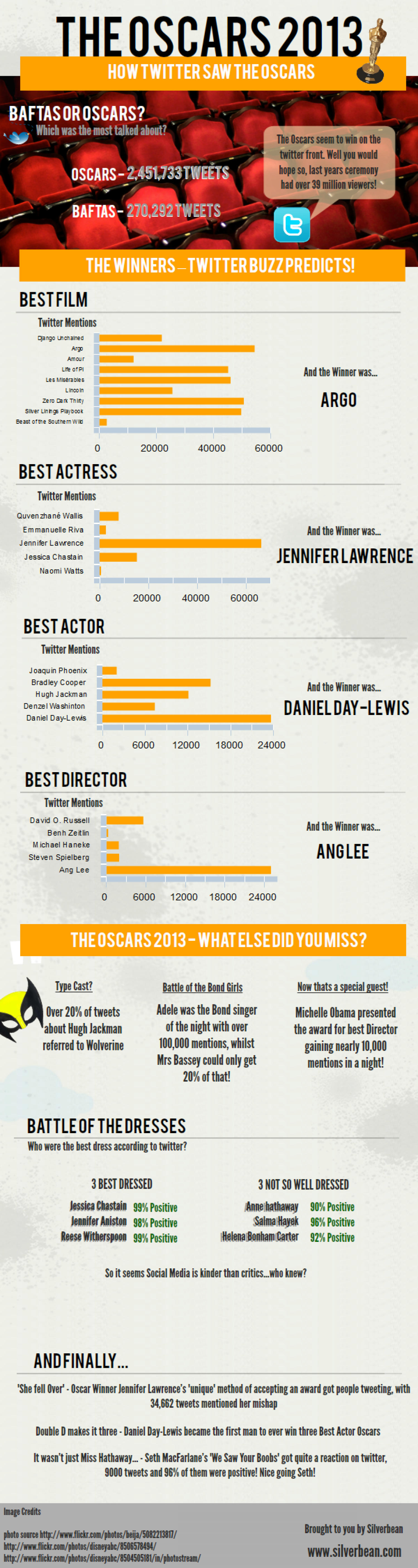 The Oscars 2013 - How twitter saw the Oscars 2013 Infographic