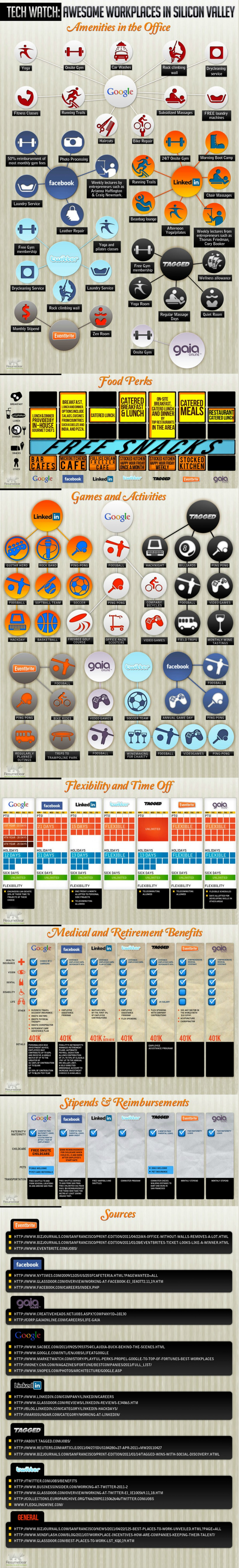 The Perks of Working at Top Web Companies Infographic