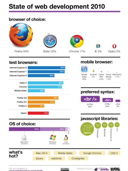 The State of Web Development 2010 Infographic