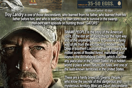 The Swamp People: Hunting Alligators in the swamps of Louisiana is a way of life Infographic