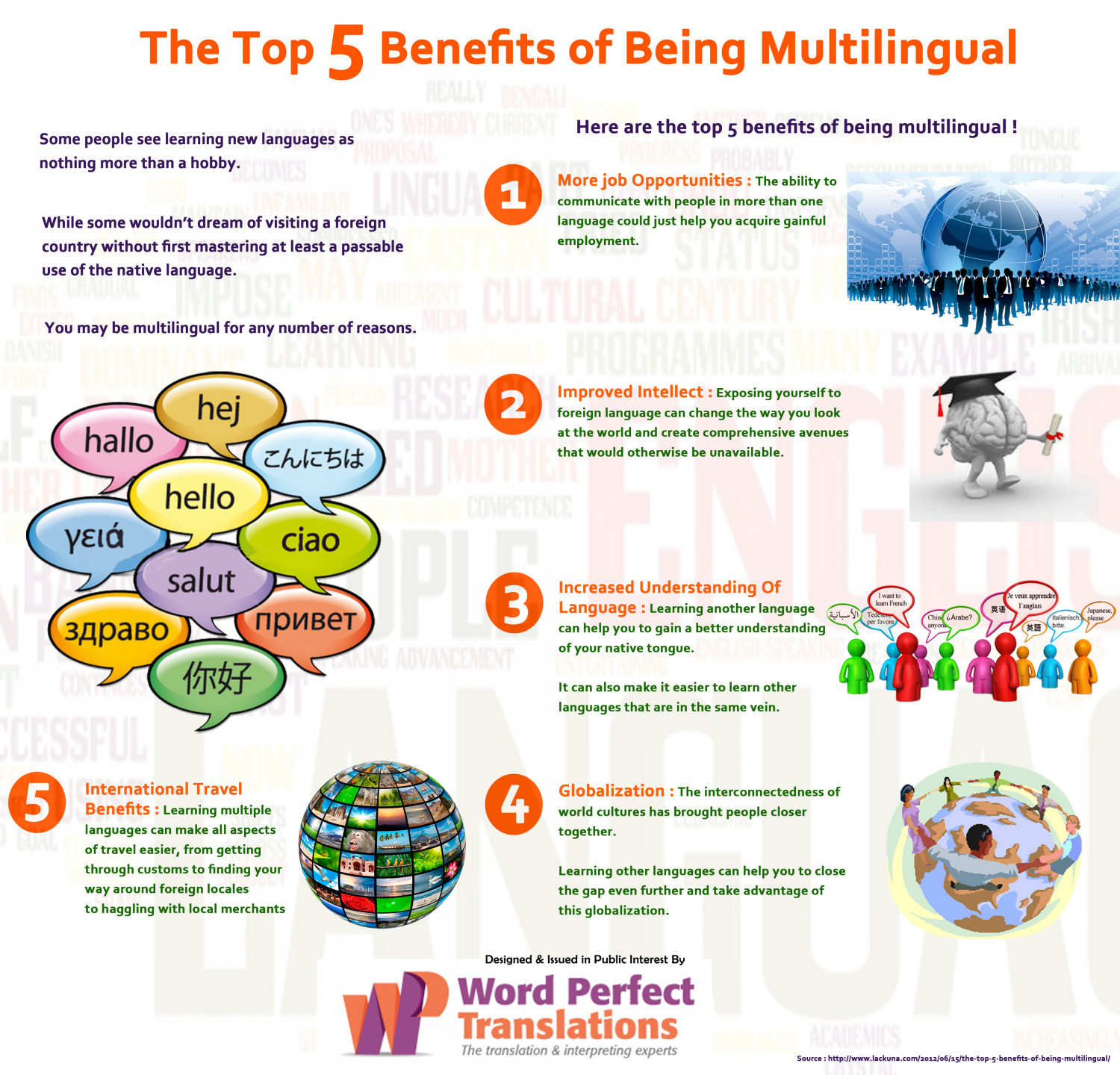 The Top 5 Benefits of Being Multilingual Infographic