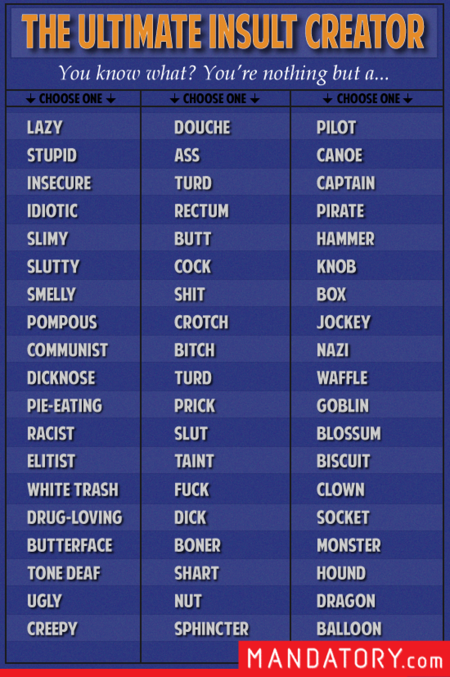 The Ultimate Insult Creator Infographic