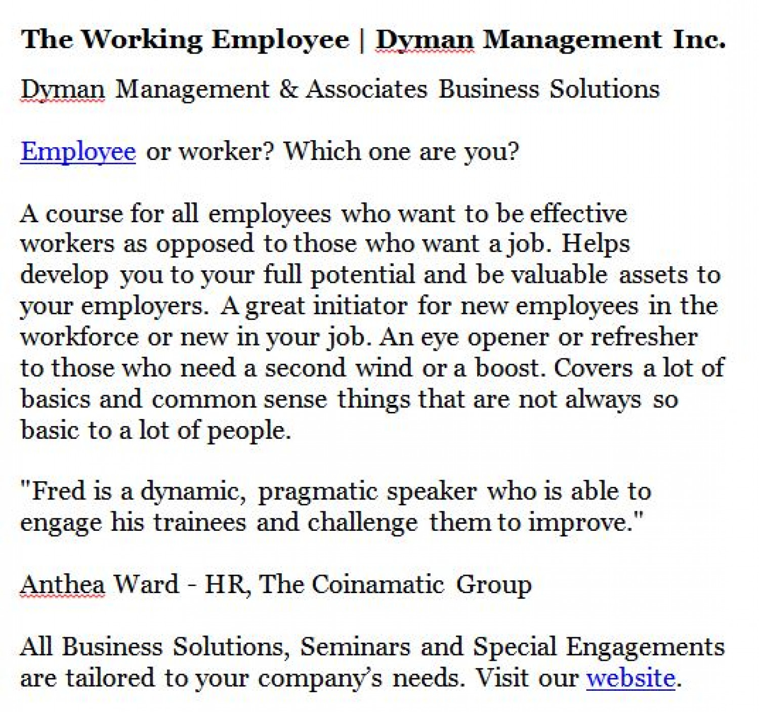 The Working Employee | Dyman Management Inc. Infographic