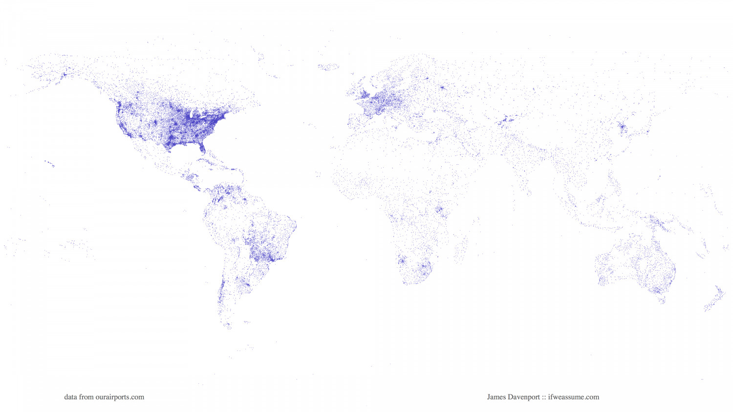 The World, Drawn with Airports/Runways Infographic