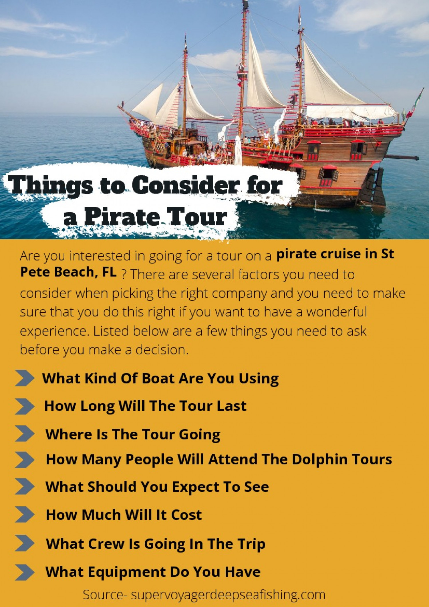 Things to Consider for a Pirate Tour Infographic