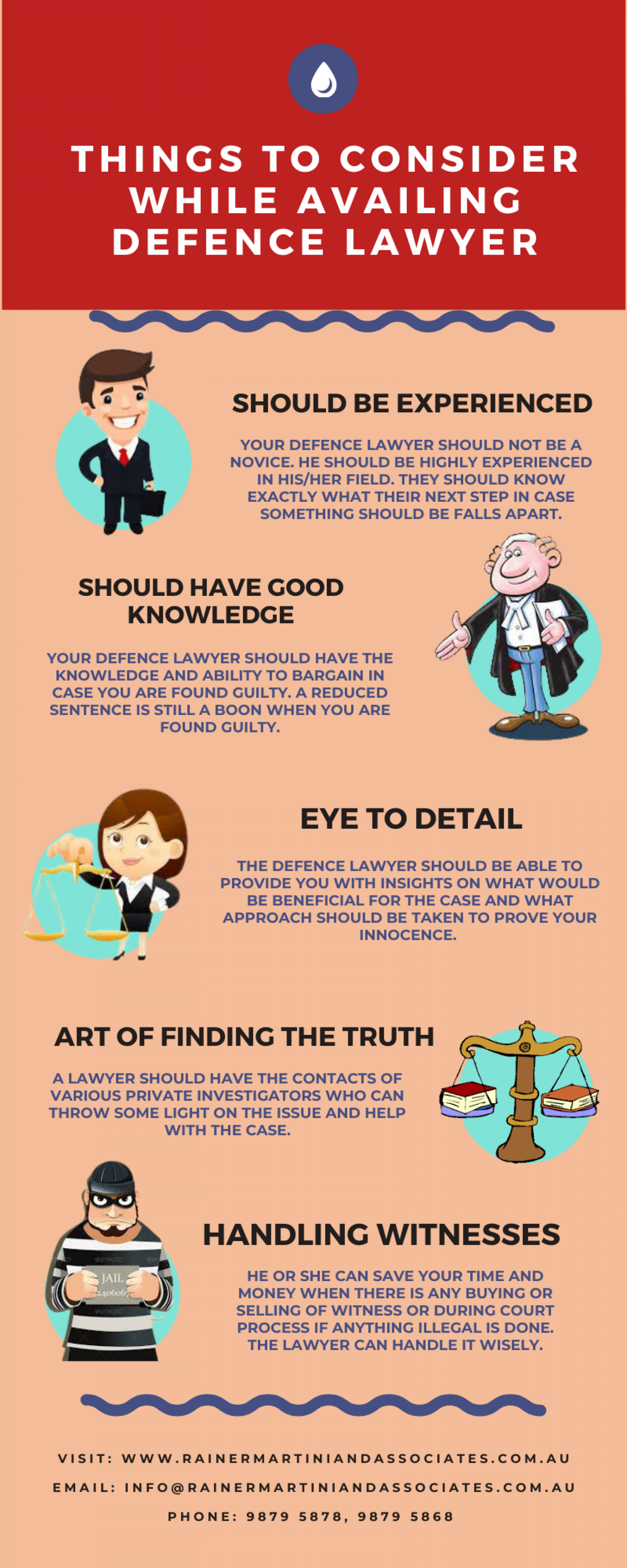 Things to Consider While Availing Defence Lawyer Infographic