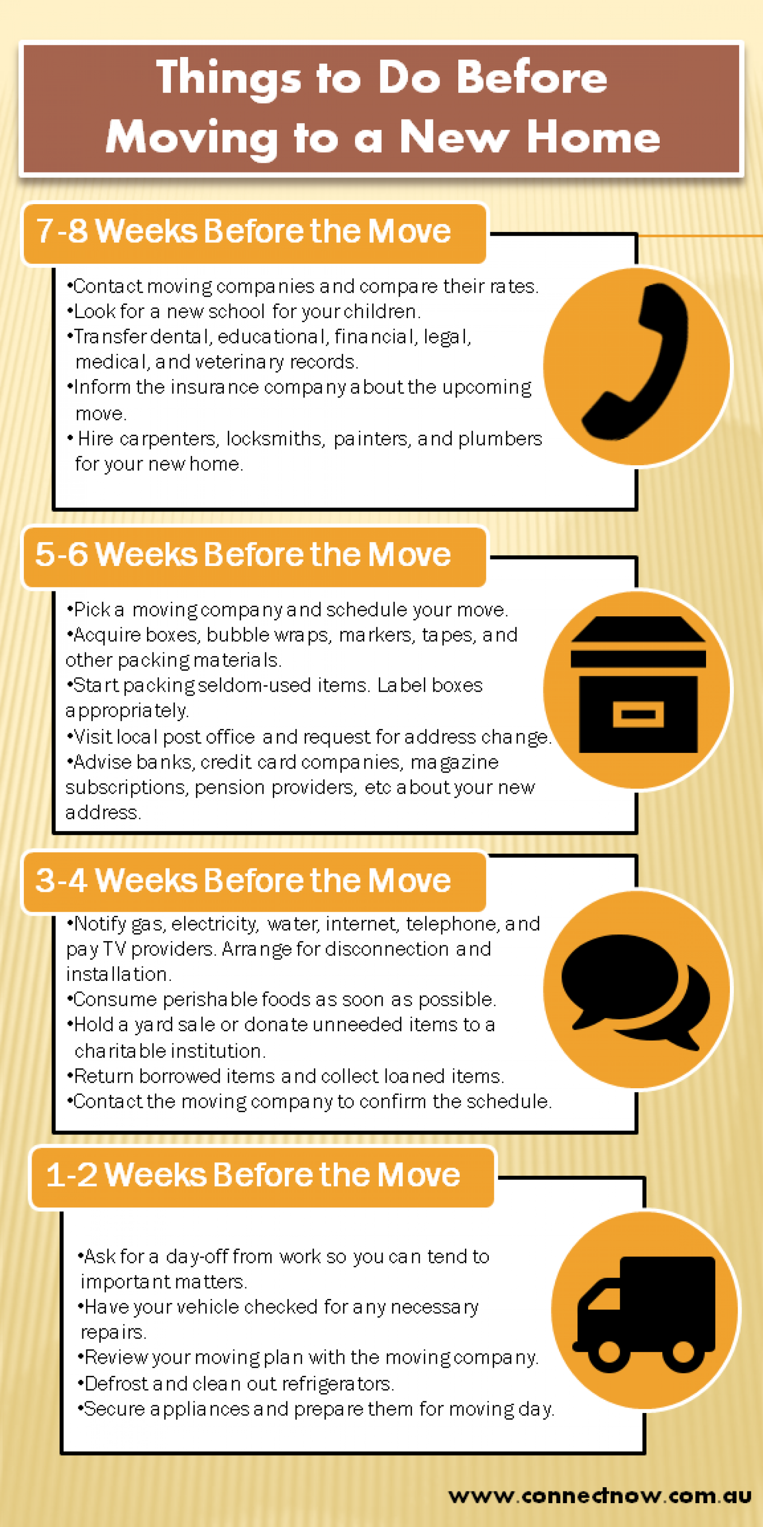 Things to do before moving to a new home infographic for Things to do before moving into a new house