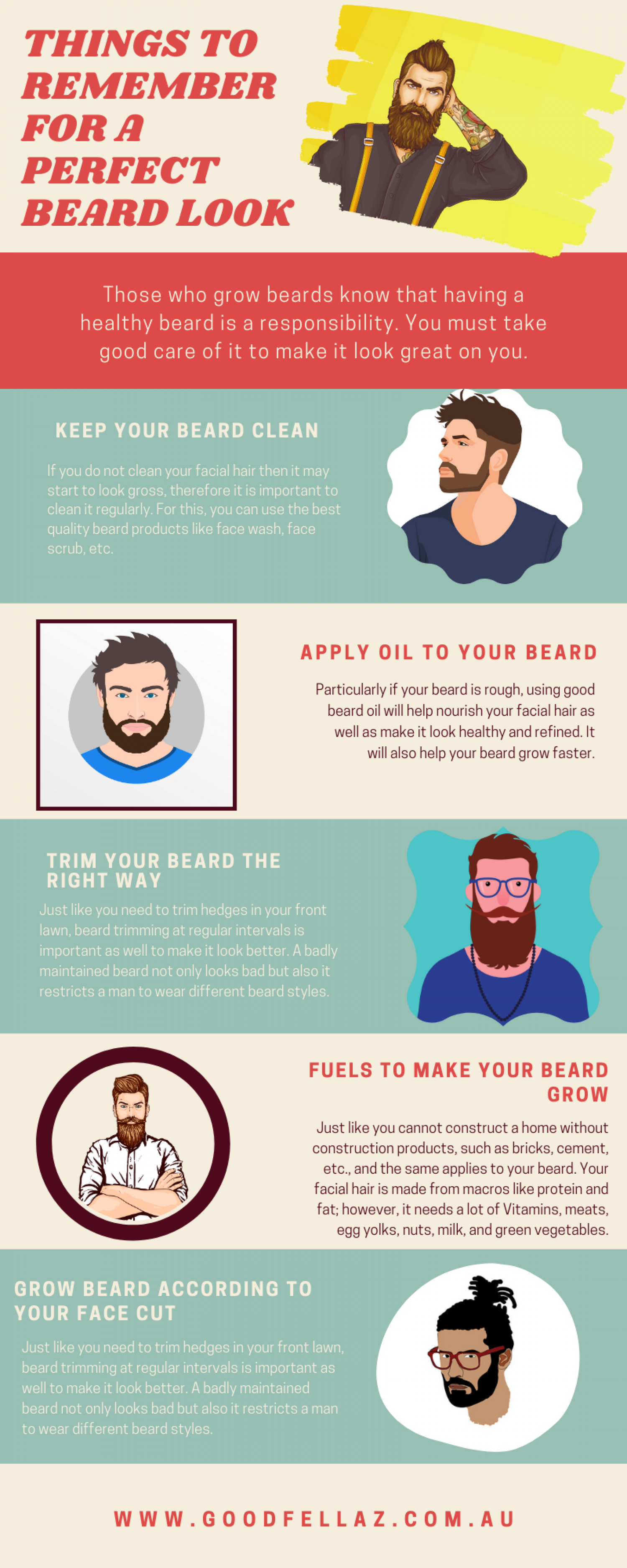 Things to Remember for A Perfect Beard Look Infographic