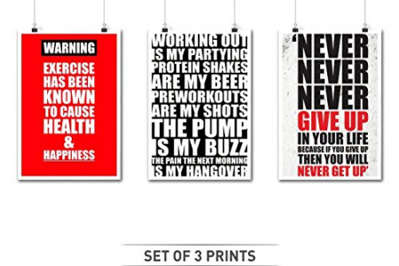 Three Gym Inspirational and Motivational Quotes Infographic