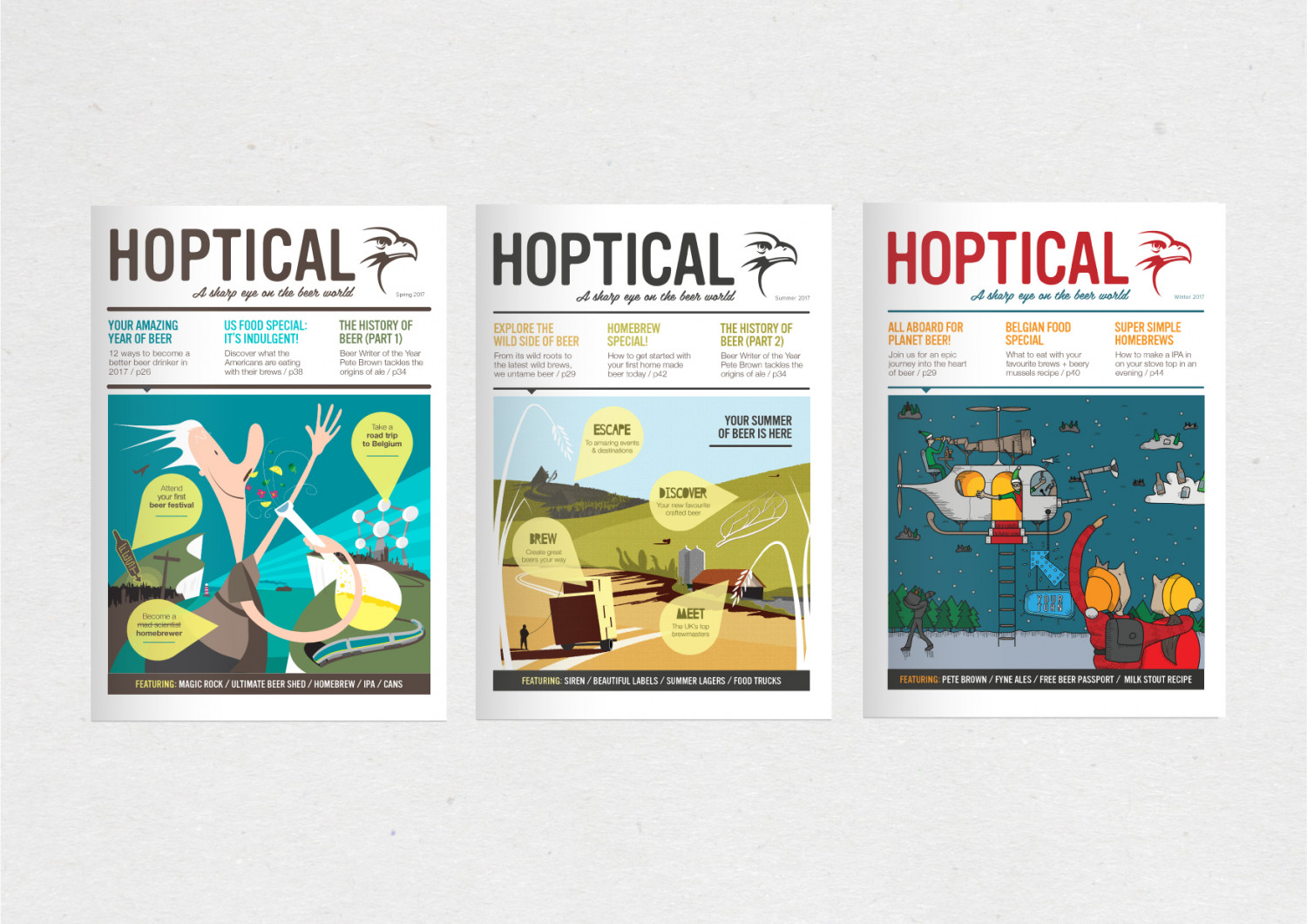 Three Hoptical cover illustrations Infographic