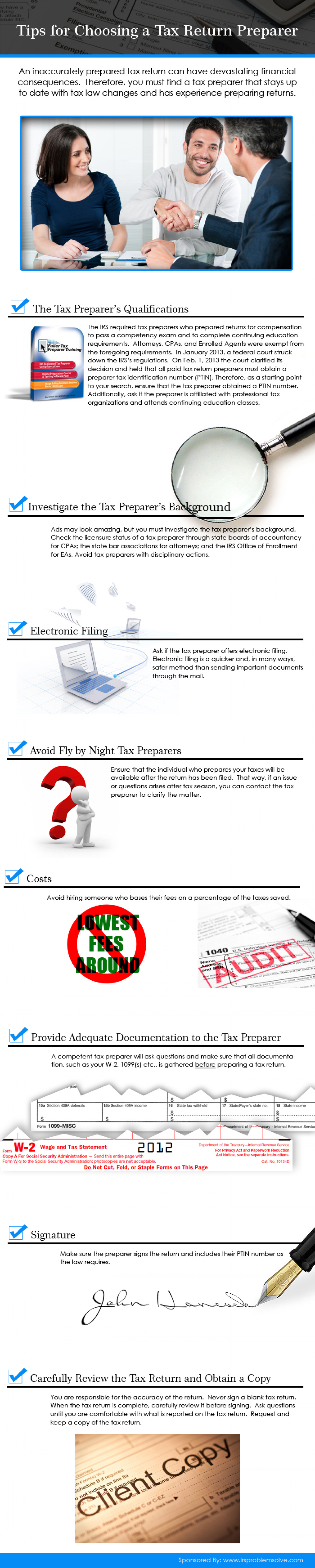 Tips for Choosing a Tax Return Preparer Infographic
