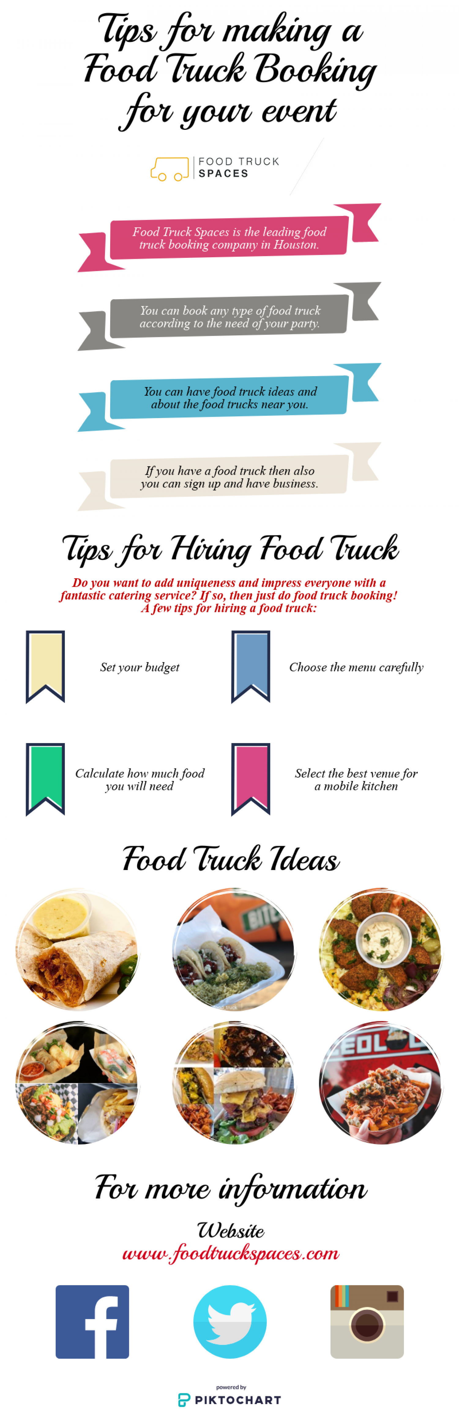 Tips for making a Food Truck Booking for your event Infographic