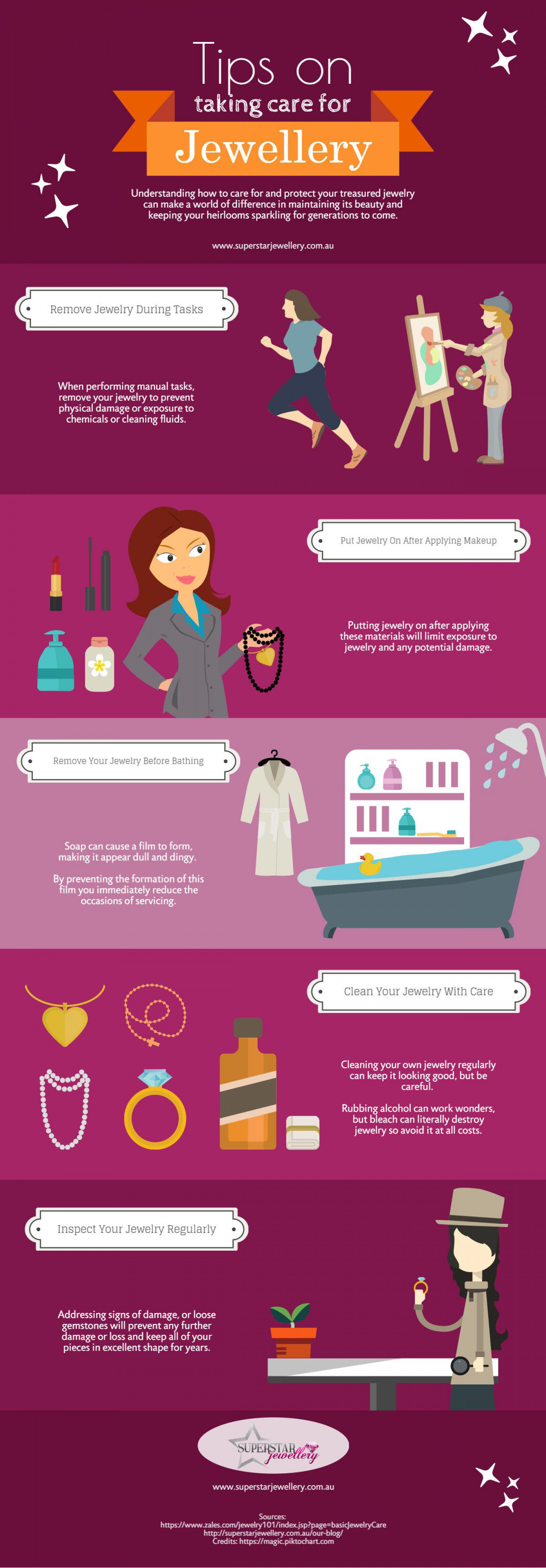 Tips on Taking Care for Jewellery Infographic