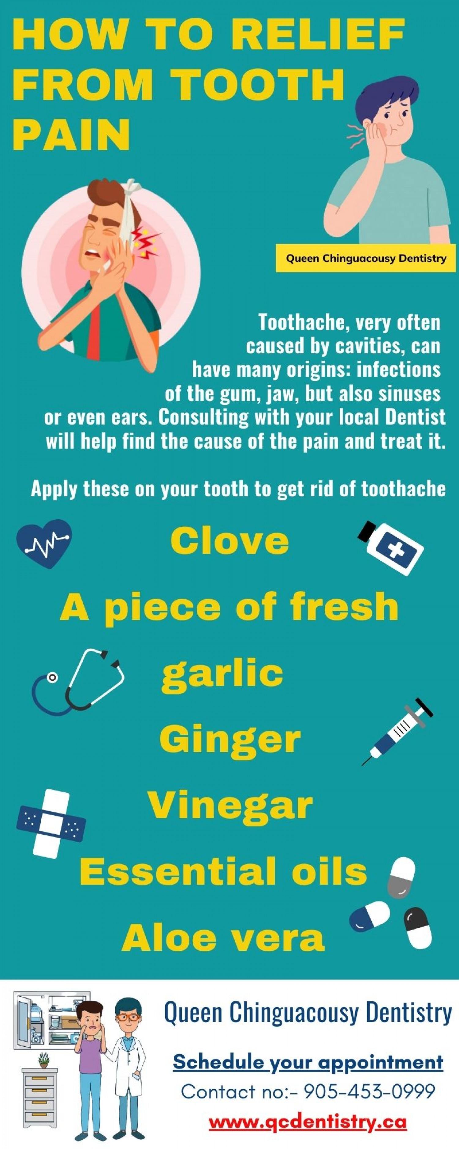 Toothache: How to Relief from Tooth Pain Infographic