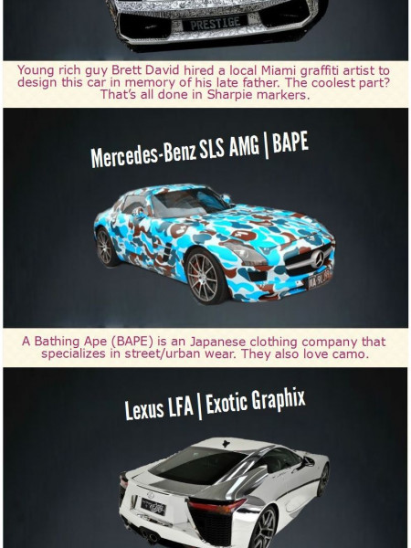 Top 10 Crazy Supercar Paint Jobs Infographic