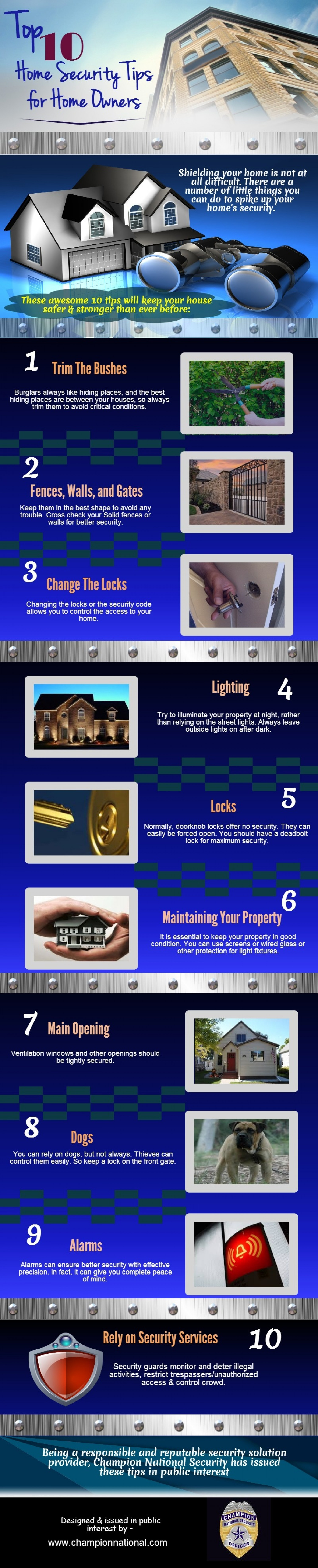 Top 10 Home Security Tips for Home Owners Infographic
