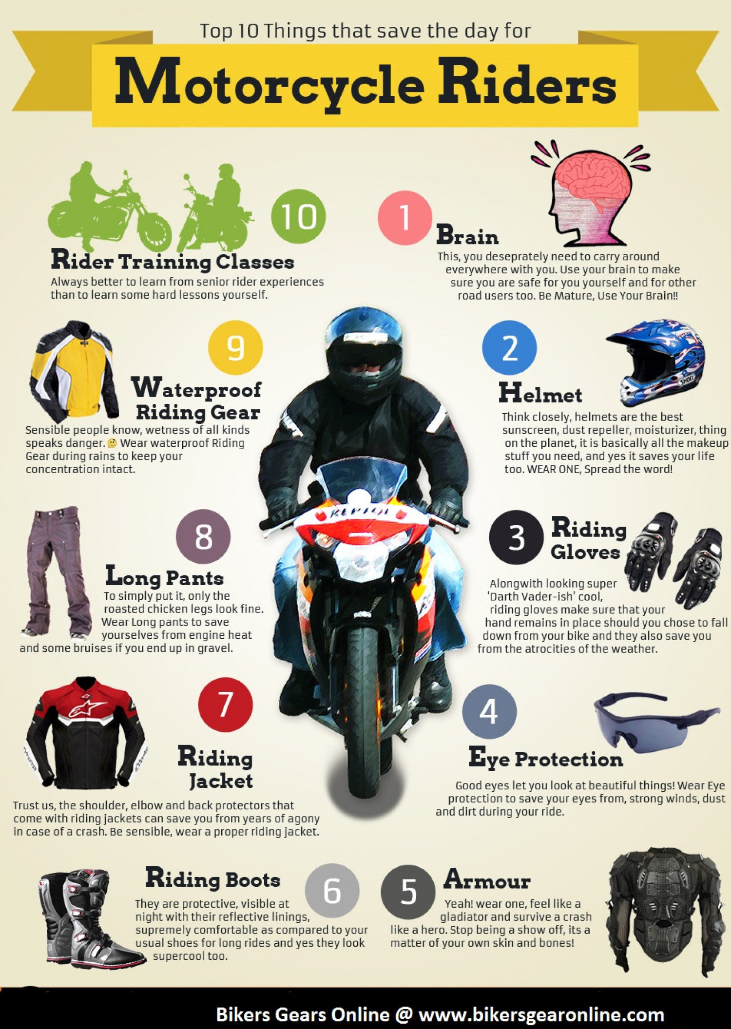 Top 10 Motorcycle Safety Tips Infographic