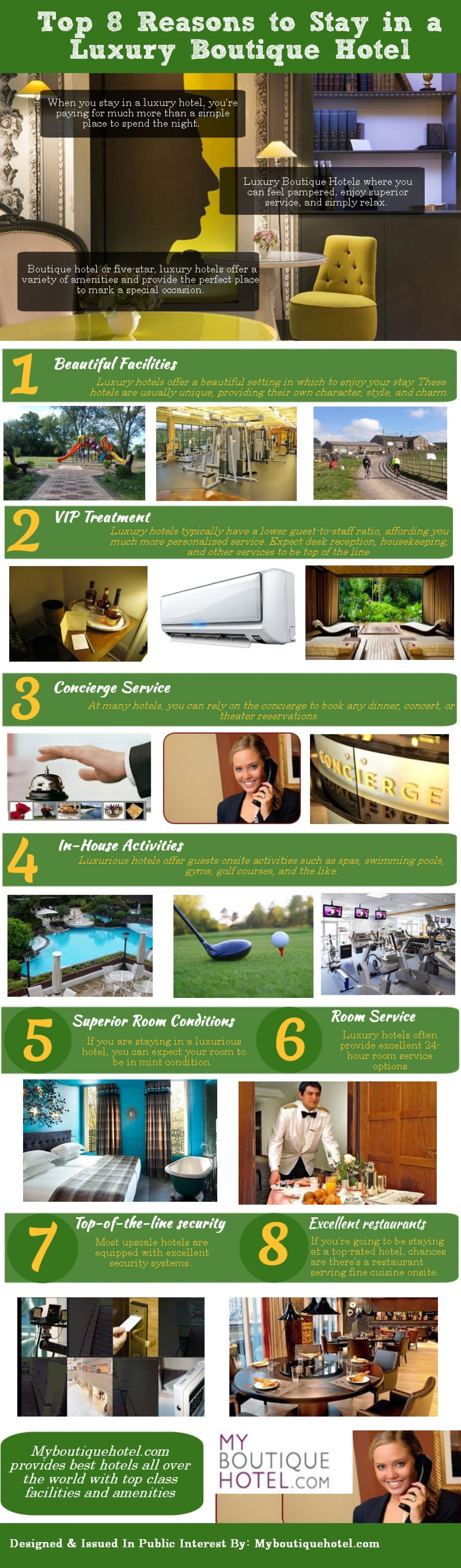Top 8 Reasons to Stay in a Luxury Boutique Hotels Infographic