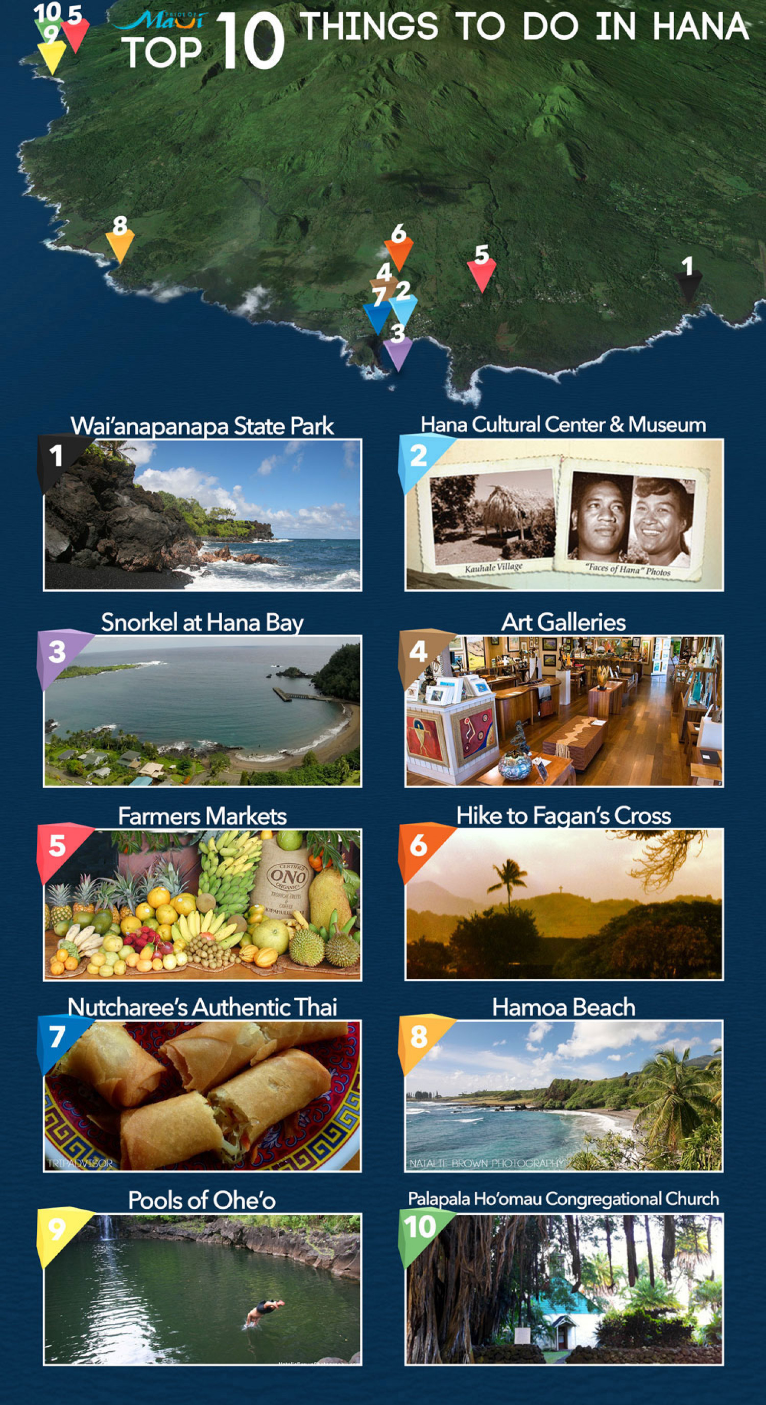 Top 10 Things to Do in Hana Infographic