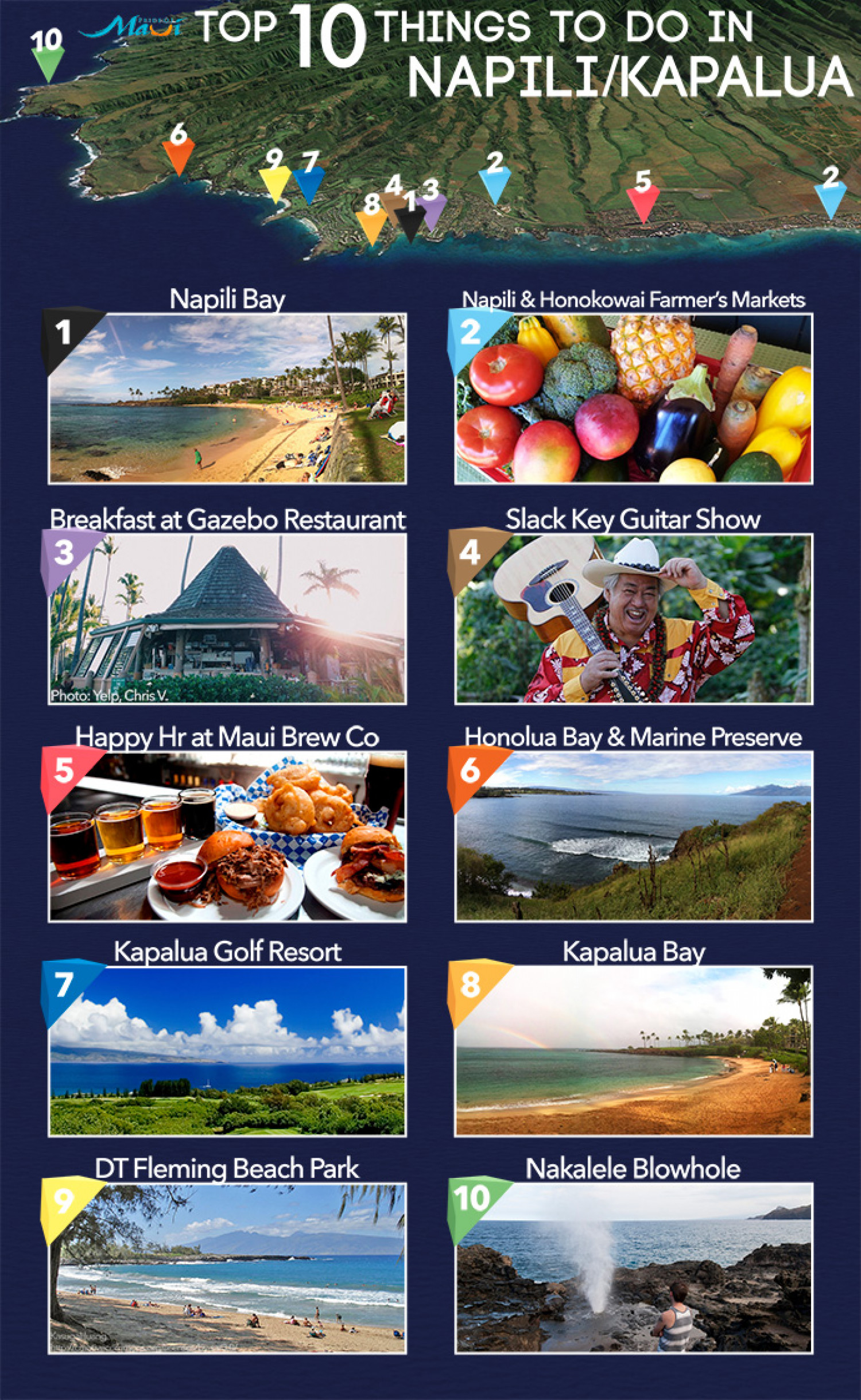 Top 10 Things To Do In Napili & Kapalua Infographic