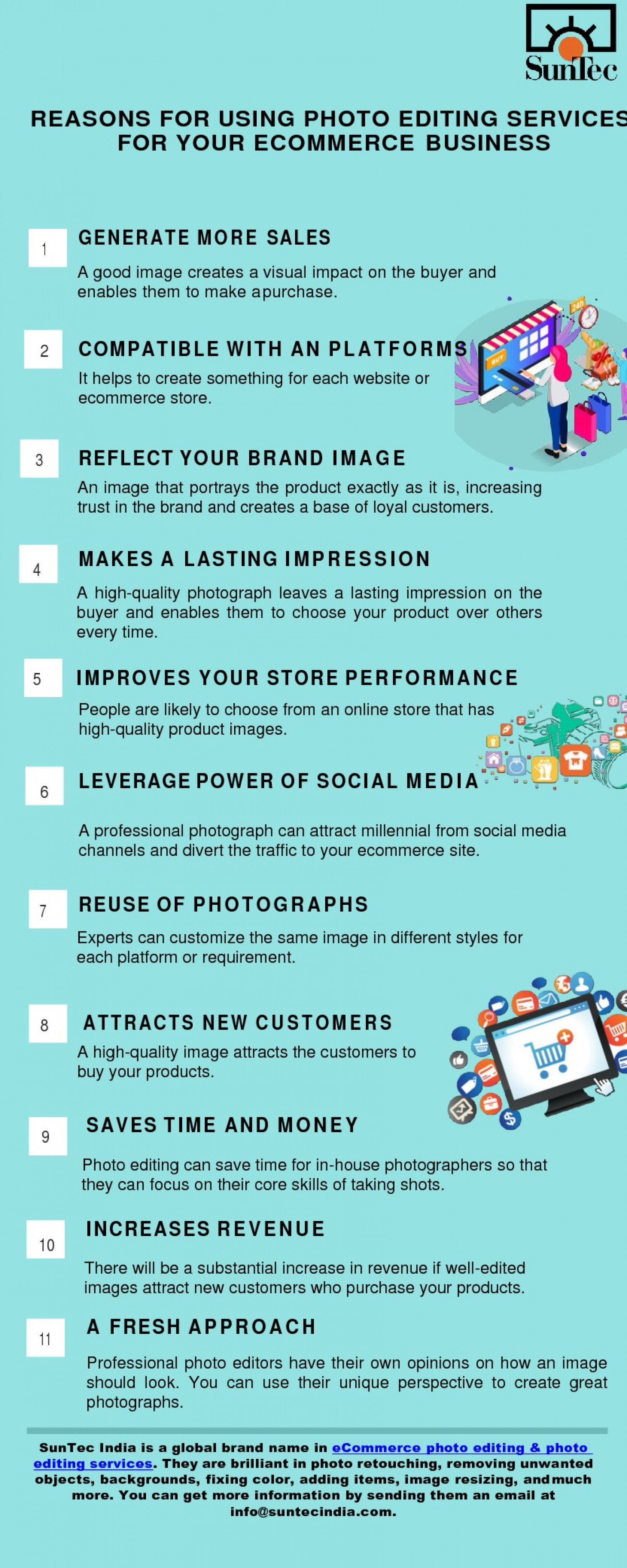Top 14 Advantages of Using Photo Editing Services For Your eCommerce Business Infographic