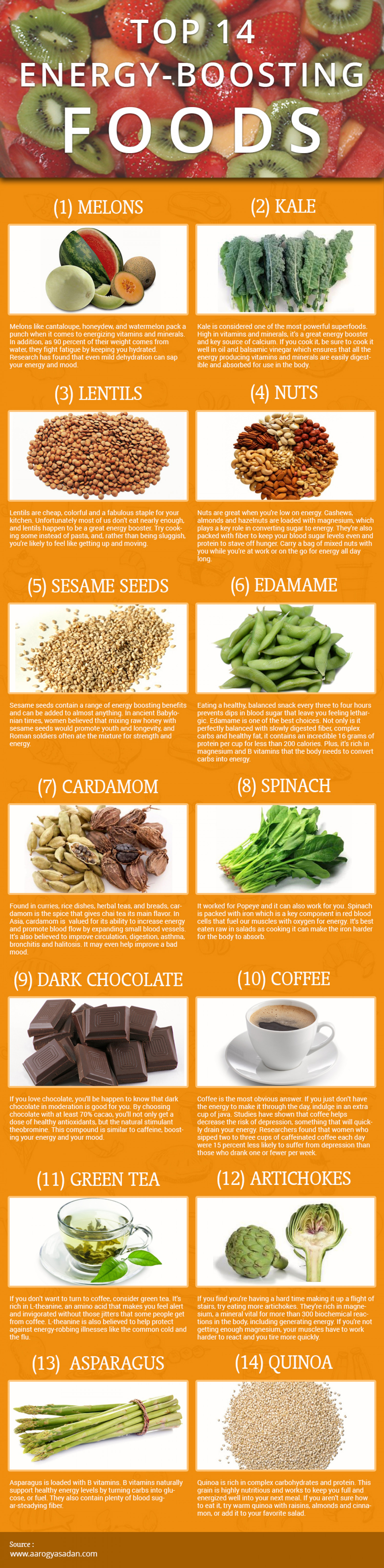 Top 14 Energy Boosting Foods Infographic