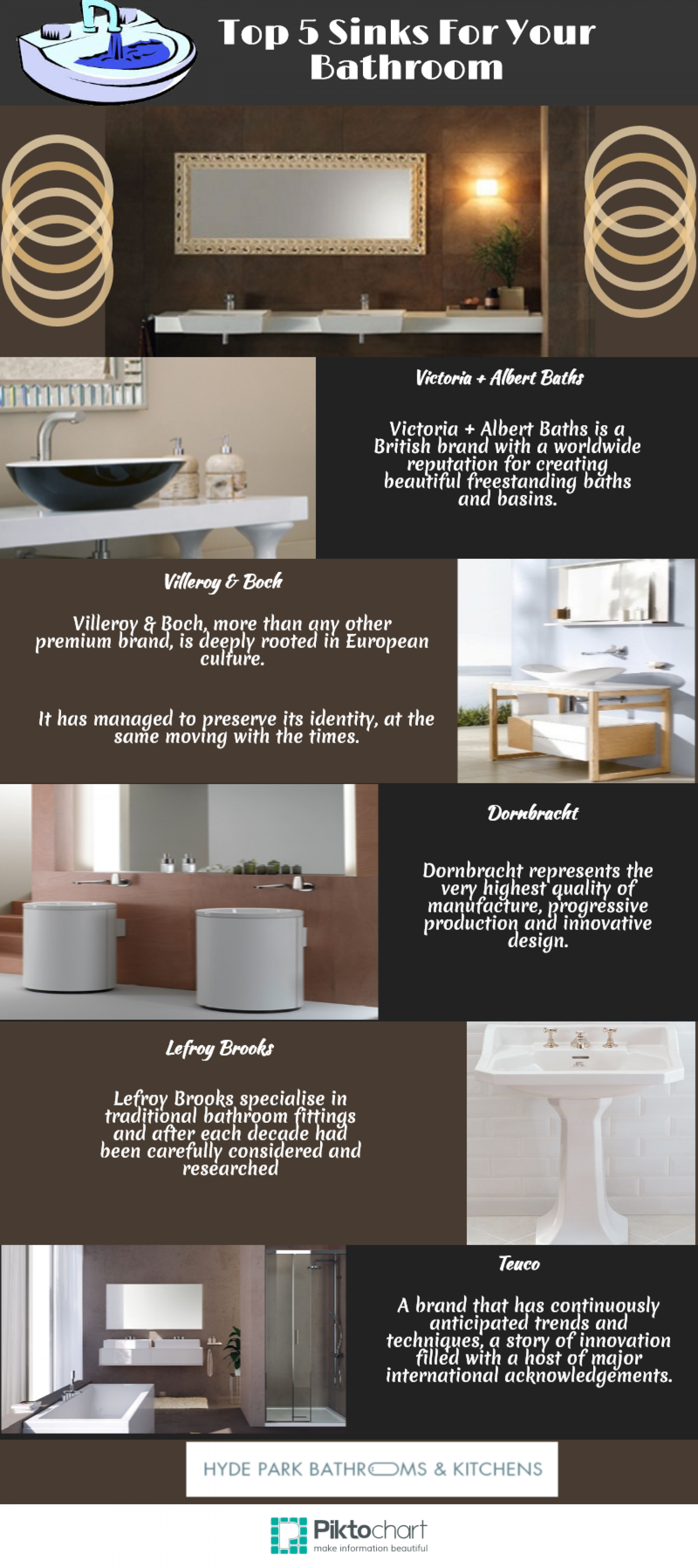 Top 5 Sinks For Your Bathroom Infographic