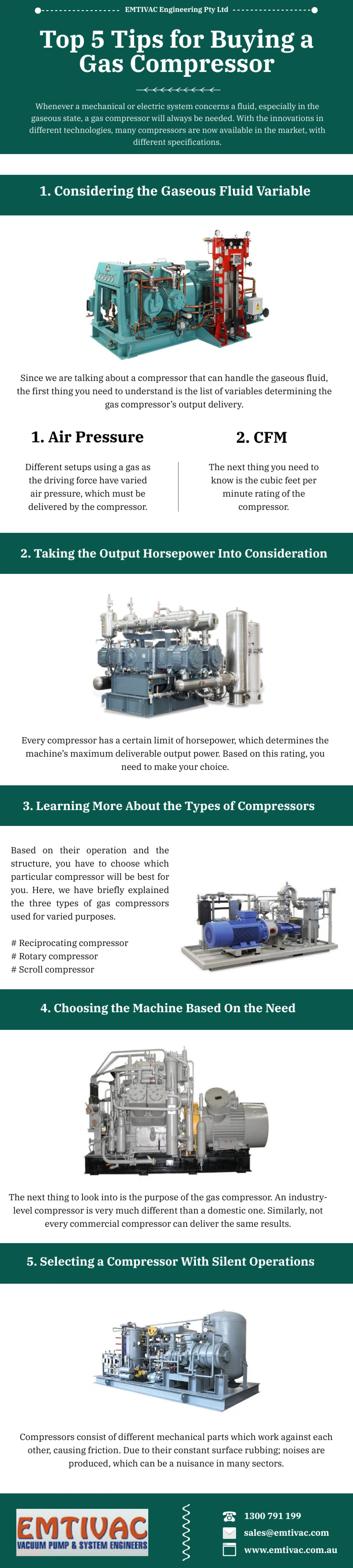 Top 5 Tips for Buying a Gas Compressor Infographic