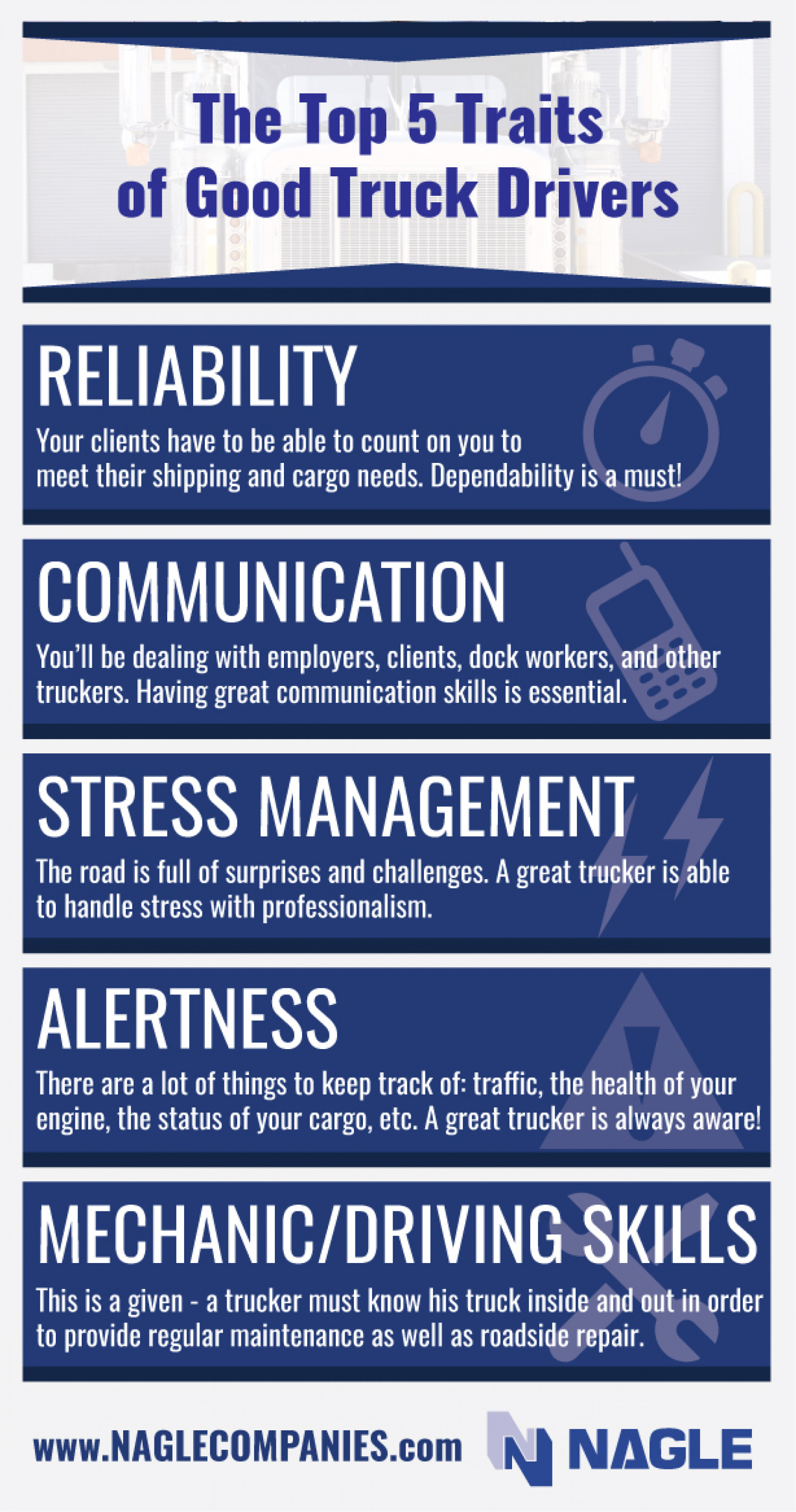 Top 5 Traits of Good Truck Drivers Infographic