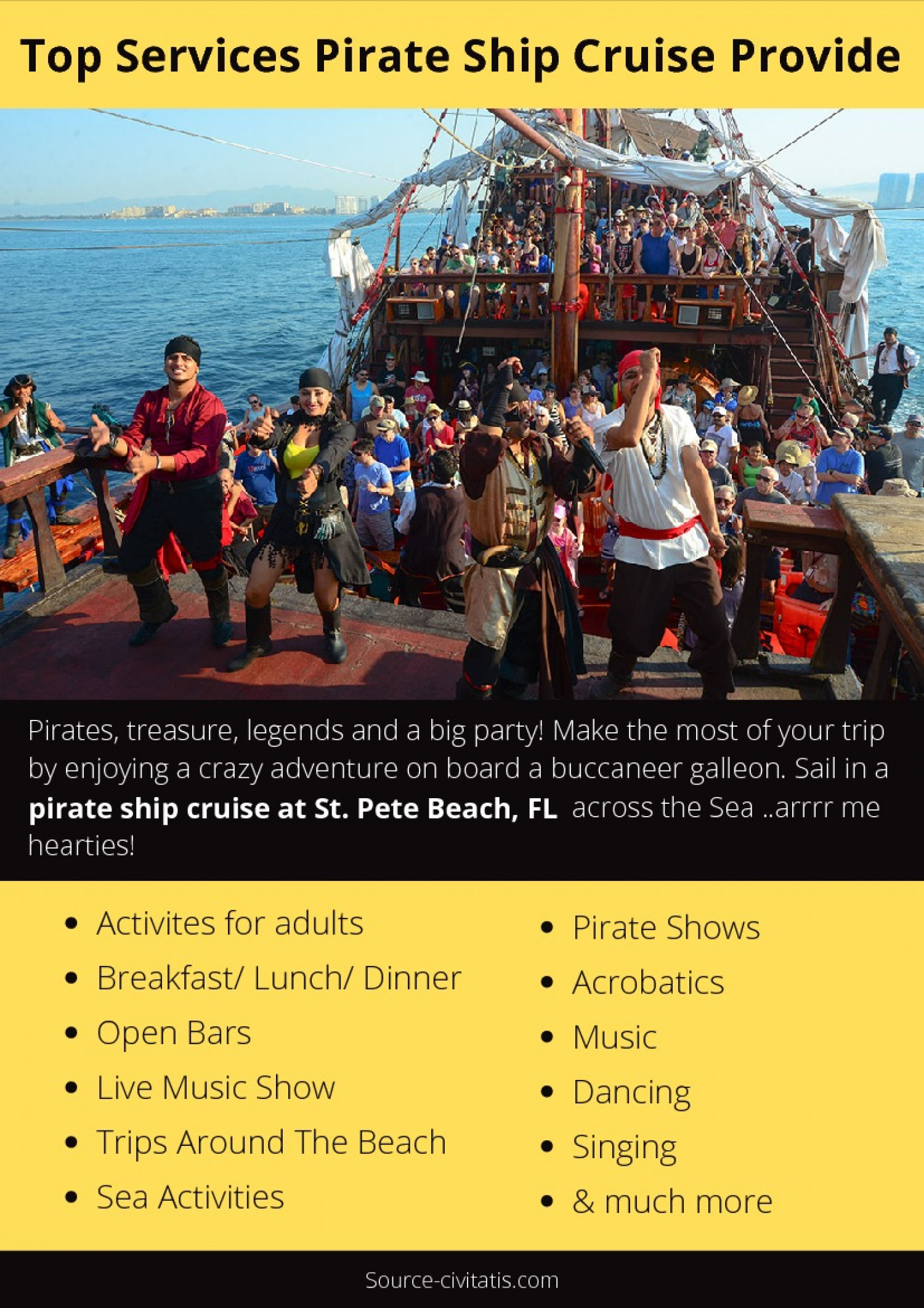 Top Services Pirate Ship Cruise Provide Infographic
