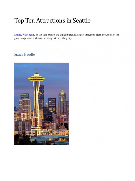 Top ten attractions in seattle Infographic