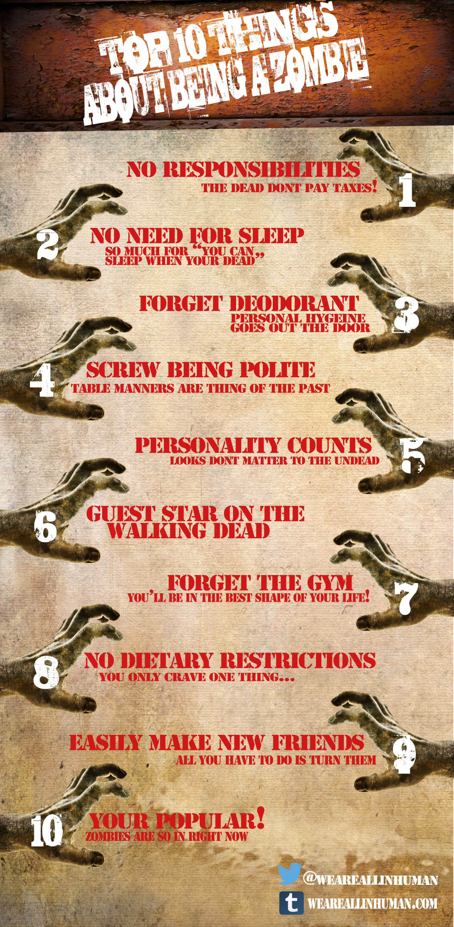 Top 10 Things About Being a Zombie Infographic