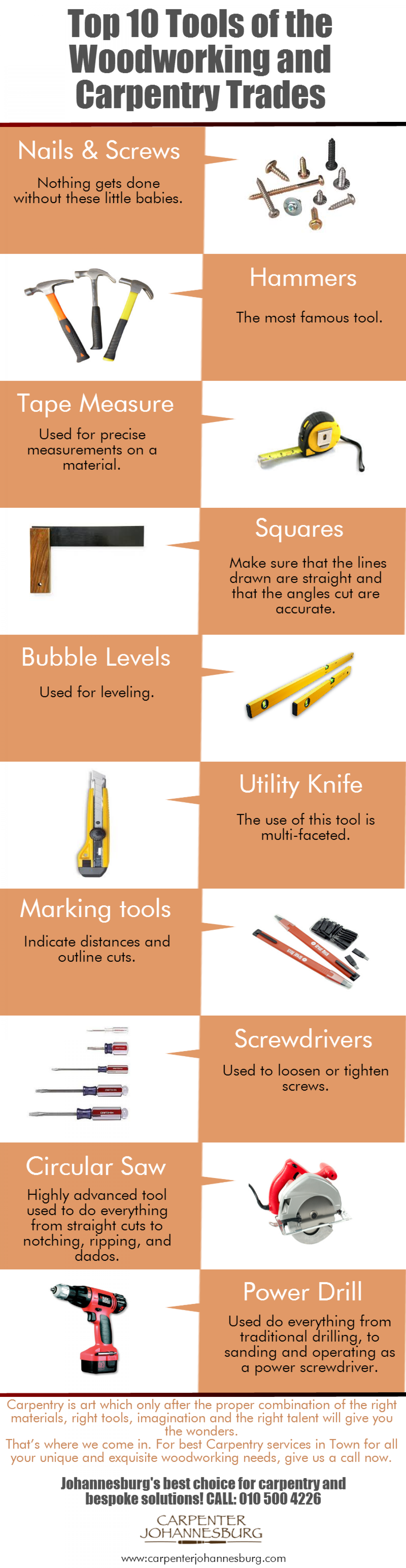 Top 10 Tools of the Woodworking and Carpentry Trades Infographic
