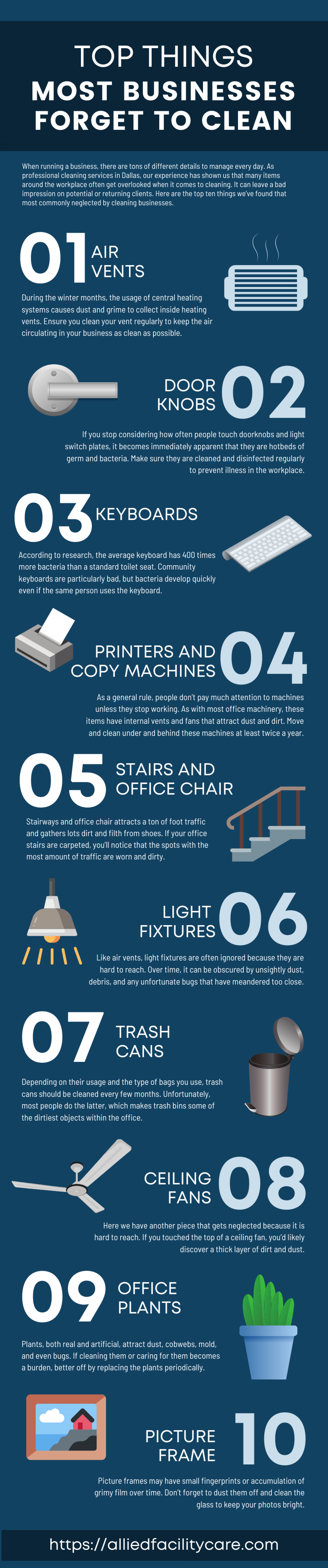 Top Things Most Businesses Forget to Clean Infographic